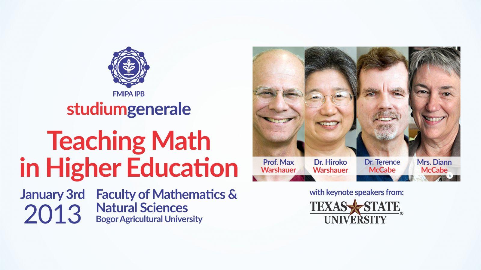 Kuliah Bersama Pakar Matematika dari Texas State University