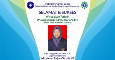 Wisudawan Terbaik IPB Wisuda Tahap IV Tahun Akademik 2018/2019