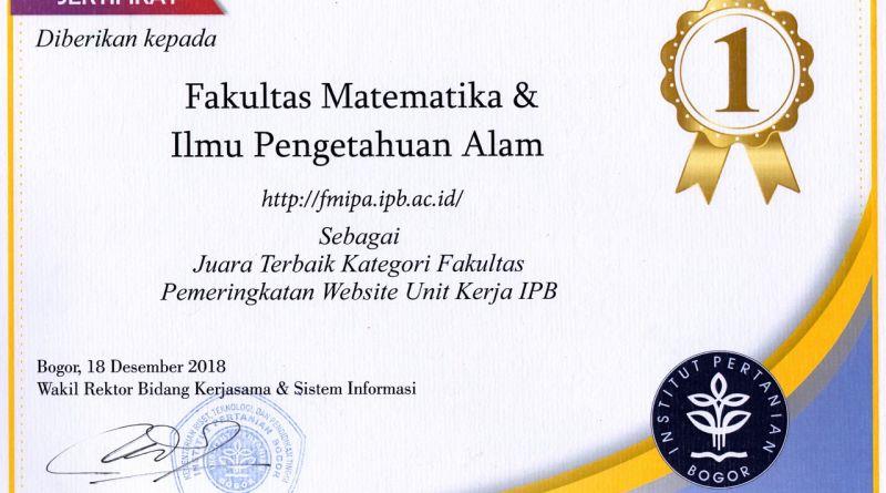 FMIPA Juara Terbaik Kategori Fakultas Pemeringkatan Website Unit Kerja IPB