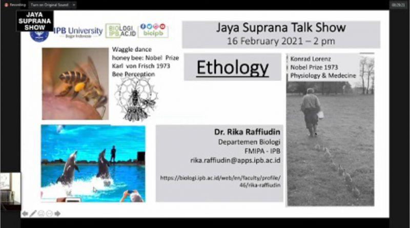Dr. Ir. Rika Raffiudin, M.Si. Paparkan Ethology di Jaya Suprana Show